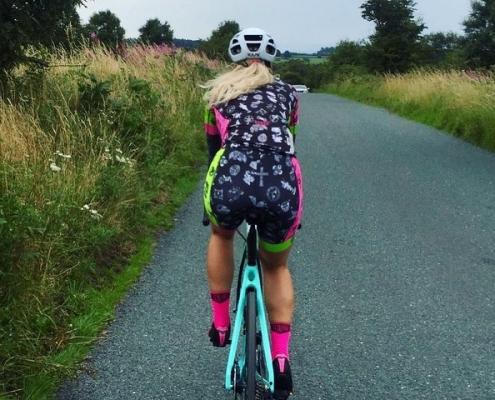 Larisa Chinces riding Bianchi at Brimham Rocks Road
