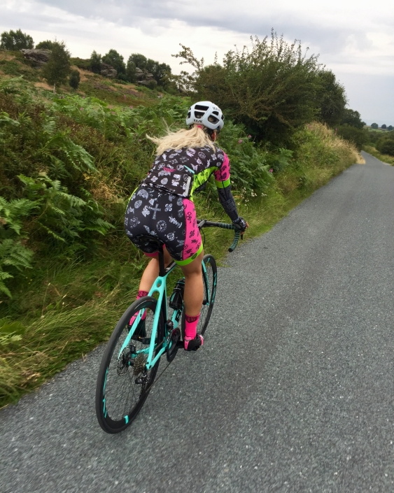 Larisa Chinces riding Bianchi at Brimham Rock Road