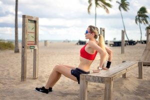 Nadezhda Pavlova exercing on beach